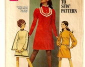 "A Mod A-Line Dress Pattern with Stand Up Collar and Long Straight, Gathered, or Bell Sleeves: Junior Size 7/8, Bust 29"" • Simplicity 8365"