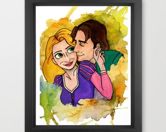 Tangled INSTANT DOWNLOAD, Disney, Rapunzel, Flynn Rider, watercolor, instant download, decor, kids, couple