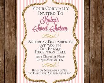 Pink & Gold Glitter Sweet Sixteen Invitation
