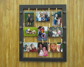 Hanging photo frame with wires