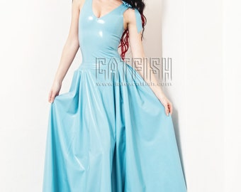 Floor Length Deep V design Fashion and Elegant Latex Dress with Bow knot Decoration.
