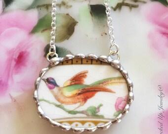 Broken China Jewelry. Broken China Necklace, Bird of Paradise, WH Grindley China, Recycled China, Colorful Bird, English China