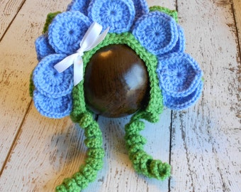 Crochet Bluebell Flower Bonnet- Newborn to 6-12 Months- Photo Props