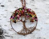Tree of Life Pendant Watermelon Tourmaline, Wire Wrapped Tree of Life, Wire Wrapped Jewelry, Woodland Jewelry