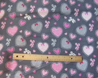 Gray/Pink Girly Hearts and Ribbons Flannel Fabric by the Yard