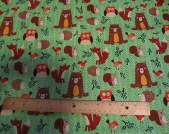 Green Woodland Animal/Bear/Fox/Squirrel/Possum/Owl Flannel Fabric by the Yard