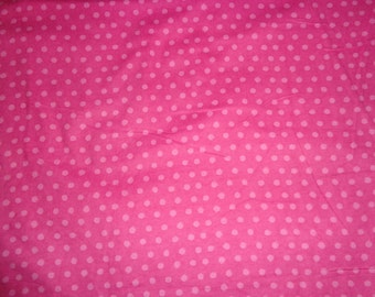 Pink Polka Dot Flannel Fabric by the Yard