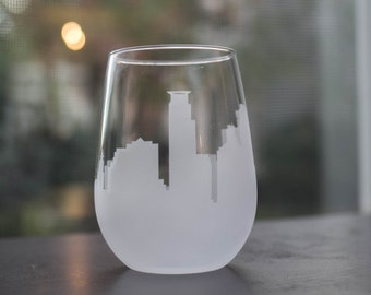 Etched Minneapolis, Minnesota Skyline Silhouette Wine Glasses or Stemless Wine Glasses