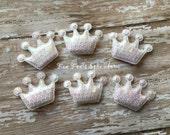 6 pc set- Princess Crown- WHITE padded sequin applique- scrapbook embellishment