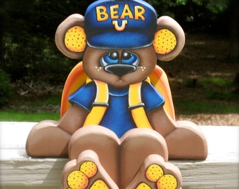"Back to school ""Spencer"" wood craft shelf sitter monthly bear"