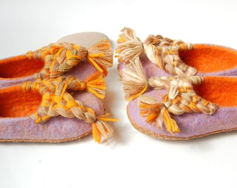 Sisters gift felted slippers ,girls wool slippers ,2 pairs wool felt slippers  ,handmade slippers for girls- 12,5 US and 8,5US