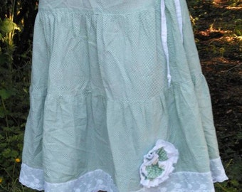 Upcycled green cotton skirt size 18