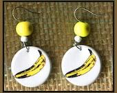Banana button earrings