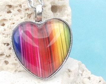 Rainbow heart pendant, heart shaped necklace, rainbow pendant, rainbow necklace, rainbow jewelry, heart necklace, heart, Pendant #PA143H