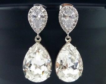 SALE Wedding Jewelry Bridesmaid Gift Bridal Jewelry Bridesmaid Jewelry Clear White Swarovski Crystal Tear Drop Earrings Cubic Zirconia Earri