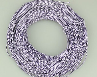 Purple & White Waxed Cotton Cord 2mm