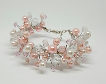 Pink Bridal Bracelet,Pearl Bracelet,Wedding Jewelry,Crystals Bracelet,Pearl Jewelry,Bridesmaid Jewelry,Wedding gift,Flower girl jewelry