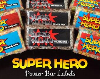 Superhero & Super Villain Power Bar Party Labels - Instant Download