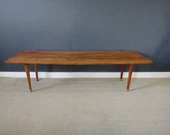 Mid Century Slatted Wood Bench