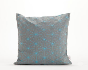 "Grey & Light Blue designer throw pillow cover 15.7x15.7"". Japanese inspired decorative design. Removable printed pillow cover. Tamara pillow"