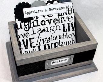 RECIPE BOX, Recipe Dividers, Recipe Cards, Black and White Dividers, Gray Recipe Box, Modern Recipe Box, Rustic Recipe Box, Bridal Shower