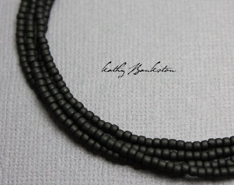 Matte Black Seed Bead Necklace, Long Black Necklace, Black Layering Necklace,Black Seed Bead Necklace,Black Jewelry,Black Necklace, Necklace