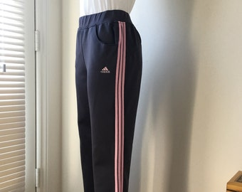 Grey Adidas pants adidas sportswear  pink triple striped embroidered adidas on back pink satin 2 pockets waist 30""