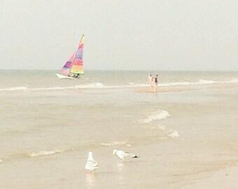 Sailing away with you- sailing boat - clear sea water print-birds at seashore- home beach decor gift- wedding gift