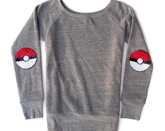 Pokemon Shirt. Tumblr Shirt.  Sequin Poke Ball Elbow Patch. Poke Ball. Geek Nerd. Cosplay. Video Game Tee. Gamer Tee. Sequin Ball Sweatshirt