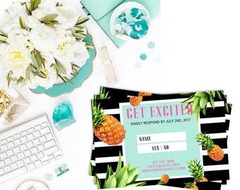 RSVP Pineapple + Tropical Wedding Cards