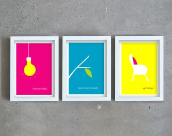 Quote art prints, wall deco art set, colorful art prints, inspirational quote, minimal art, fun art prints, set of three prints, giclee