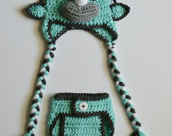 Crochet Triceratops Dinosaur Baby Beanie Earflap Hat & Diaper Cover Photo Prop Custom Made Boy Girl
