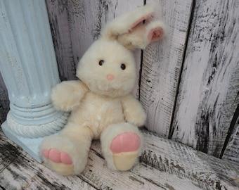 Vintage Easter Bunny Rabbit Stuffed Animal Toy Pink Fuzzy