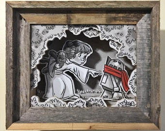 """Original, Signed, Hand Built Wooden Shadow Box By James Hance - """"Please Let Someone Find My Droidlet..."""" (Star Wars / The Rescuers)"""
