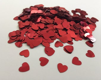 500 Red Heart Confetti, Made of Thin Plastic Material, Wedding, Crafting