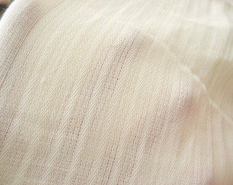 Creamy White Woven Striped Cotton Double Gauze Fabric