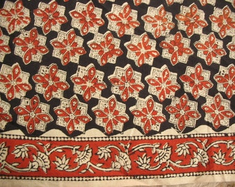 Screen  Print Border Fabric Floral Print Cotton Fabric with Border Sold by Yard
