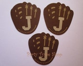 6 Personalized Baseball Gloves (3 size options) Mitts Sport Theme Decorations, Diecut Cutouts, for Birthday, Diaper Cake, Baby Shower, Brown