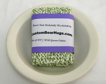 Large Hand Knit Dishcloth, Washcloth, 100% Cotton, Green, Mix and Match to Make a Custom Set, Housewarming Gift, Baby Shower Gift