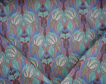 1-5/8 yards Liberty Home Kate Nouveau in Blue Velvet - Art Deco Tulip Floral Luxury Printed Cotton Velvet Upholstery Fabric - Free Shipping