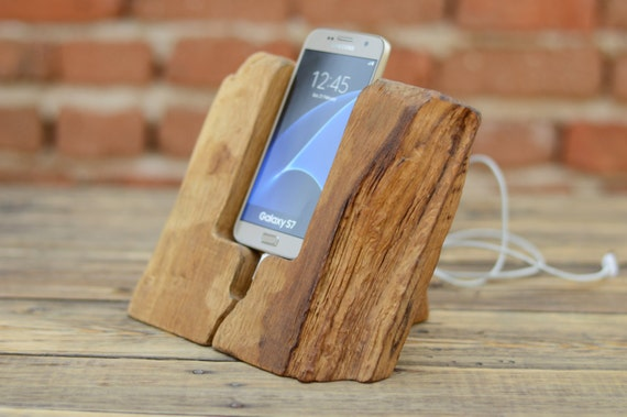 Wooden Phone Stand ~ Samsung galaxy s dock handmade phone stand rustic