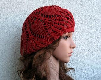 Crochet Summer beret Womens hat Red Linen beret hat Women Summer hat Women linen Slouchy Beret Tam Hat