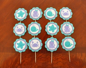 Girly Under the Sea Cupcake Toppers, Girly Ocean Cupcake Toppers Set of 12