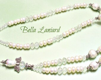 BLP2027  Angelic White Freshwater Pearls with extended chain
