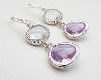 Crystal Clear and Light Purple Ametyst Color Drop Earrings Bridesmaid Gift Wedding Earrings, Bridal Jewelry ,Green Dangle Earrings, Gift