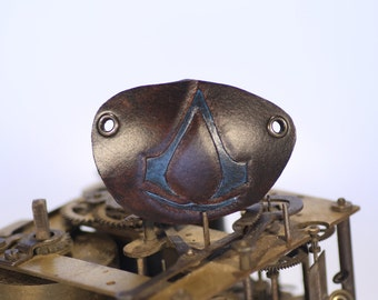 steampunk leather eye patch , assassins creed blue   (made to order)