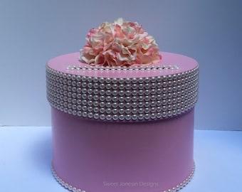 Pink Pearl Trim Wedding Card Box