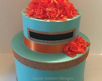 Aqua Blue & Orange  Wedding Card Box Bling Ribbon