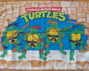 Vintage 1988~TEENAGE MUTANT Ninja TURTLES~Twin Sheet Set~Fitted/Flat/Pillowcase