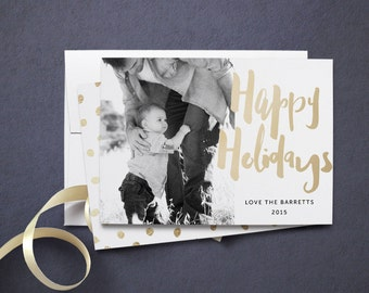 Foil Photo Holiday Card, Happy Holidays Faux Gold Brush Script, 5 x 7 Holiday Photo Cards [004GL-HPC]